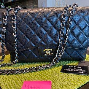 Chanel Jumbo Single Flap in Black Caviar with SHW